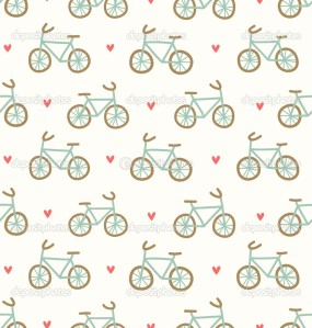 Cartoon bicycles and hearts lovely seamless pattern